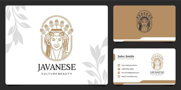 Schöne javanische kulturhochzeits-make-up-logo und visitenkarte