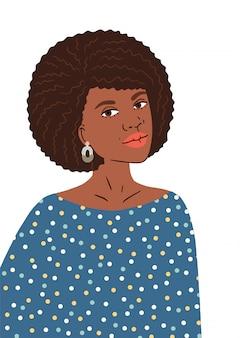 Schöne junge afroamerikanerin mit afro-frisur. selbstbewusstes schwarzes mädchen mit funky ohrringen. abbildung isoliert.