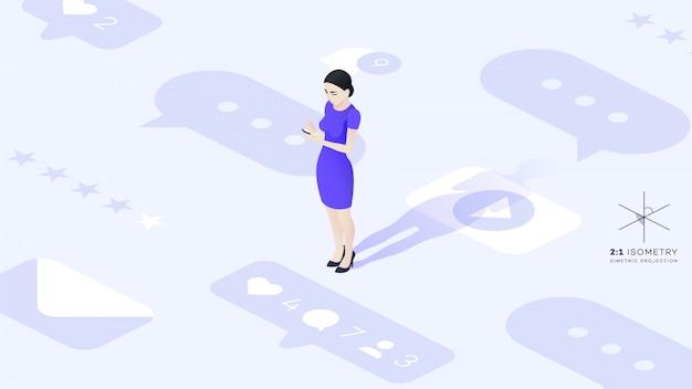 Schöne junge business lady kommuniziert mit ihrem telefon