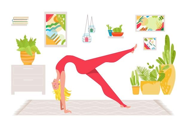 Schöne junge frau charakter praktiziert yoga