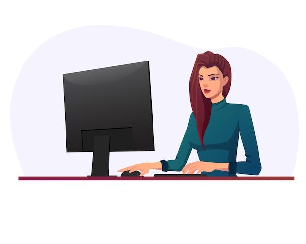 Schöne junge frau, die an einem computertisch arbeitet und monitor betrachtet