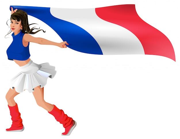 Schöne junge frau in der sportuniform hält flagge von frankreich
