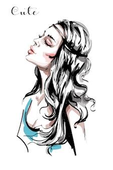 Schöne junge frau mit langen haaren