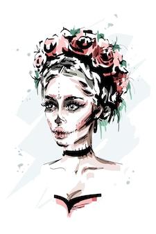 Schöne junge frau mit santa muerte make-up