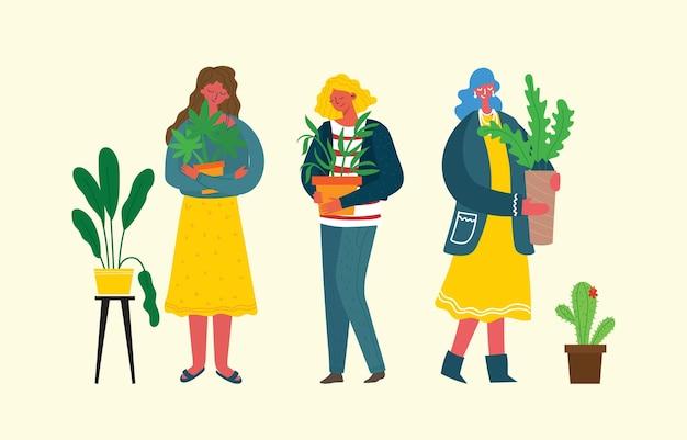 Schöne junge frauen, die zimmerpflanzen gießen, die sich um zimmerpflanzen kümmern, hobby-vektor-illustration in fl...