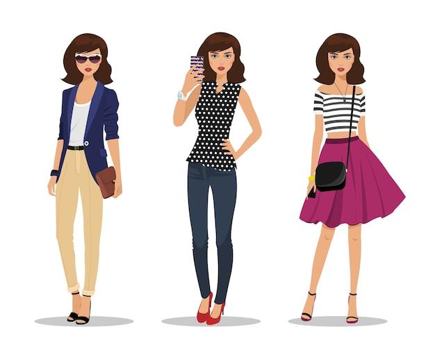 Schöne junge frauen in modekleidung.