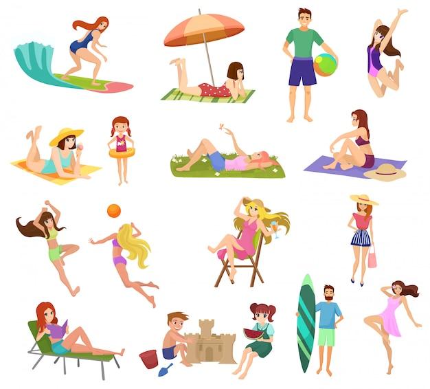 Schöne junge leute und kinder im anime-stil am strand isoliert. spielen, joggen, surfen und entspannen.