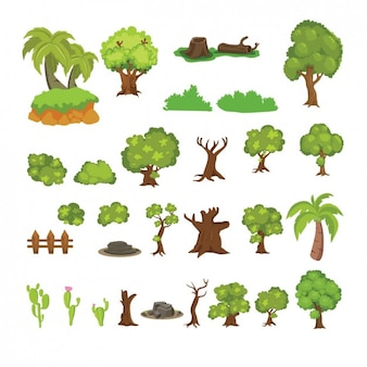 Schöne kaktus und bäume sammlung