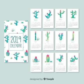 Schöne kalendervorlage des aquarells 2019