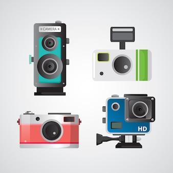 Schöne kameras im flachen design