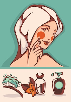 Schöne karikaturfrau und badekurortikonen und emblemsammlung