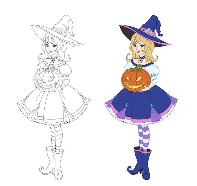 Schöne karikaturhexe, die halloween kürbis hält. blondes haar, blaues kleid und großer hut.