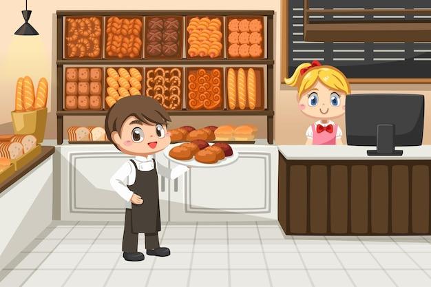 Schöne kassiererin auf theke und junger kellnerinmann im bäckerladen in zeichentrickfigur