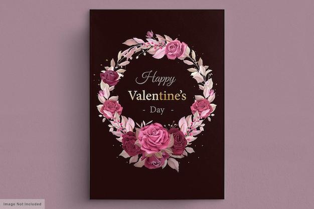 Schöne kastanienbraune valentinstagskartenschablone