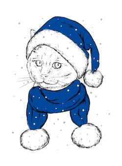 Schöne katze im weihnachtsmütze neujahrsfeiertag und weihnachtsmann