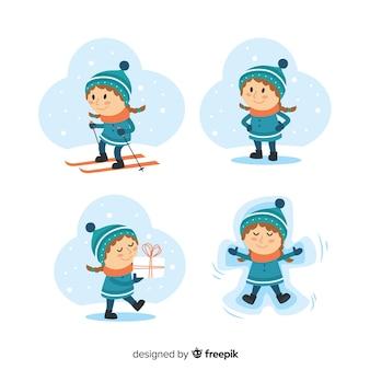 Schöne kinder mit winterkleidung