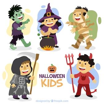 Schöne kinder-set mit handgezeichneten halloween kostüme