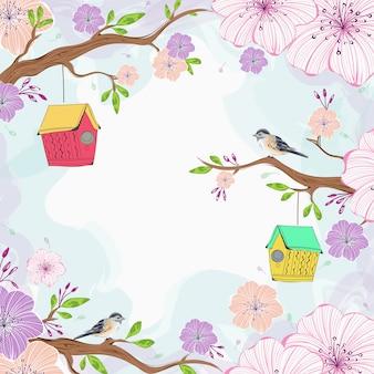 Schöne kirschblüte blüht niederlassung