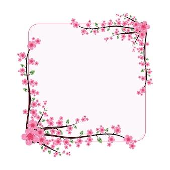 Schöne kirschblüte-rosa blumen-kranz-rahmen-flache illustration