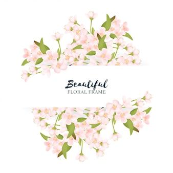 Schöne kirschblüten-blumengrenze