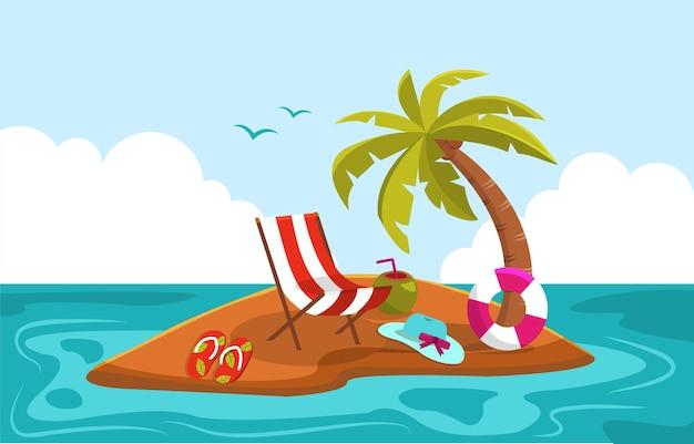 Schöne kleine insel sommer strand meer natur urlaub illustration