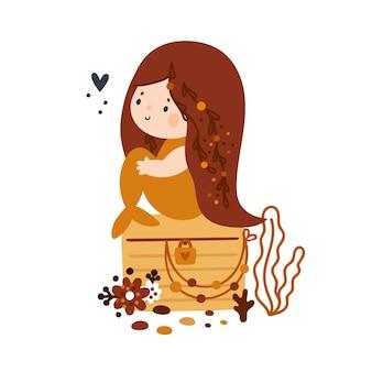 Schöne kleine meerjungfrau mit langen haaren und orangefarbenem fischschwanz auf holzkiste sitzend