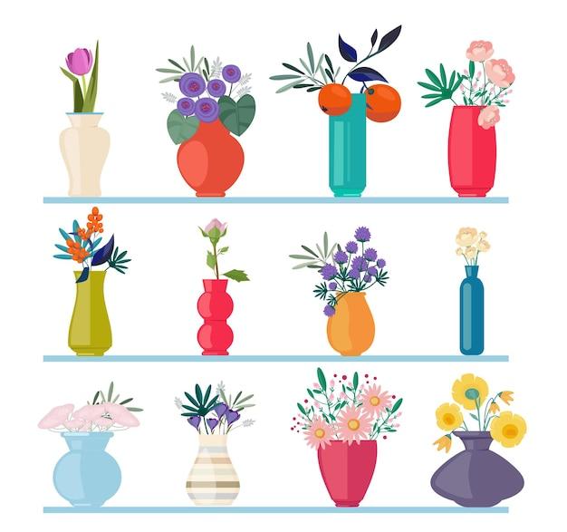Schöne knospenzweige in vasen