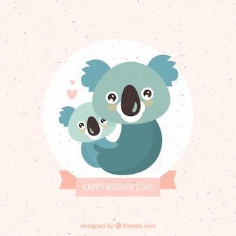Schöne koala mutter mit baby hintergrund