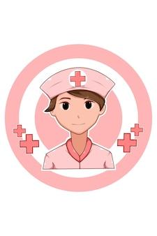 Schöne krankenschwester in der karikaturillustration des arbeitstages