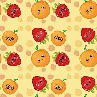 Schöne kreative emoticon-pfirsich- und erdbeermustertapete