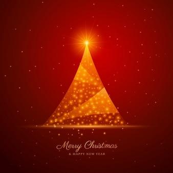 Schöne kreative weihnachtsbaum design auf rotem hintergrund
