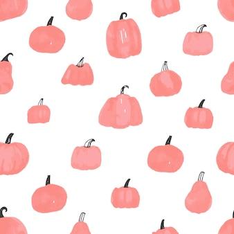 Schöne kürbis halloween thanksgiving nahtlose muster, niedliche cartoon kürbisse handgezeichneter hintergrund, ideal für saisonale textildrucke, urlaubsbanner, kulissen oder tapeten