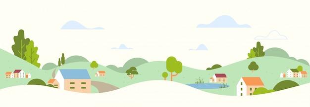 Schöne ländliche landschaft des sommerpanoramas mit dorfhäusern und hügellandschaftsillustration