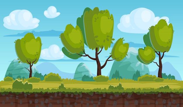 Schöne ländliche landschaft, felder, bäume. hintergrundberge, wolken. für spiele, anwendungen, animationen