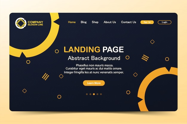 Schöne landing page abstract website-vektor-template-design