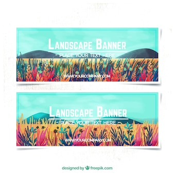 Schöne landschaft aquarell banner