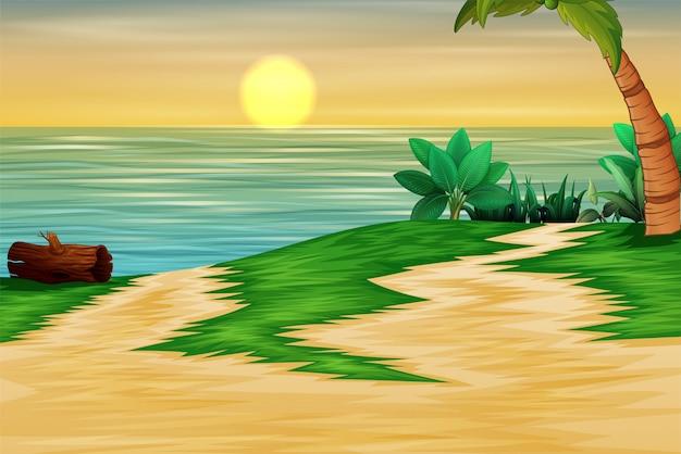 Schöne landschaft des meeres zur sonnenuntergangzeit