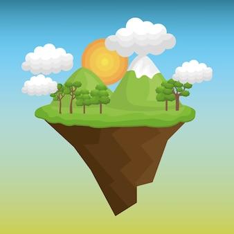 Schöne landschaft hintergrund symbol