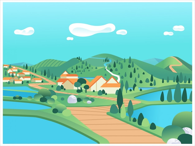 Schöne landschaft mit bergen, hügeln, see, häusern und straßenillustration. wird für poster, website-bilder, infografiken und andere verwendet