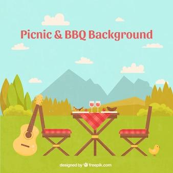 Schöne landschaft mit einem picknick-szene hintergrund