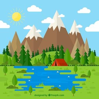 Schöne landschaft mit einem zelt in flacher bauform