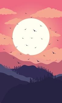 Schöne landschaftssonnenuntergangsszene mit der fliegenden illustration der berge und der vögel