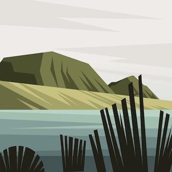 Schöne landschaftsszene mit gebirgs- und seevektorillustrationsentwurf