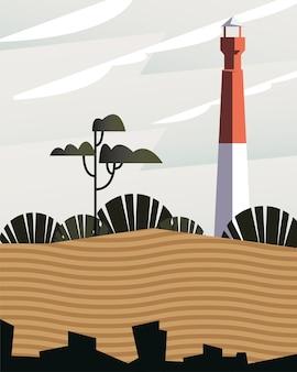 Schöne landschaftsszene mit leuchtturmturmvektorillustrationsentwurf