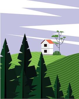 Schöne landschaftsszene mit nadelbaumwald und hausvektorillustrationsentwurf