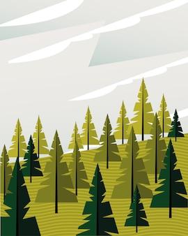 Schöne landschaftsszene mit nadelbaumwaldvektorillustrationsentwurf