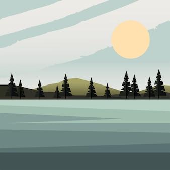 Schöne landschaftsszene mit sonnigem wald und seevektorillustrationsentwurf