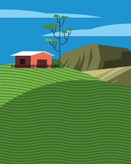 Schöne landschaftsszene mit stall im feldvektorillustrationsentwurf