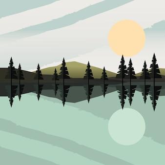 Schöne landschaftsszene mit wald- und seevektorillustrationsentwurf