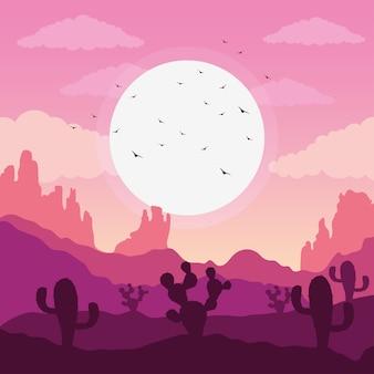 Schöne landschaftswüstenszene mit fliegender illustration des kaktus und der vögel